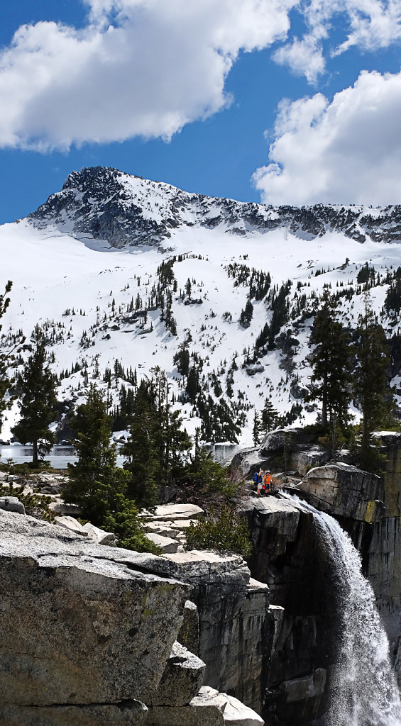 Hikers above Grizzly Falls